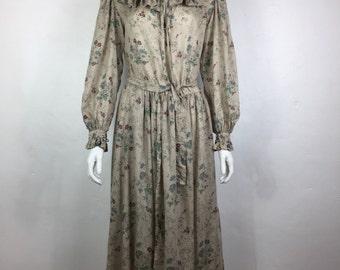 Vtg 70s 80s Jean Halm Paris floral prairie ruffle boho hippie dress