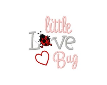 Little Love Bug Embroidery File -  Instant Download