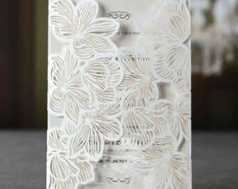 Wedding Invitation Pack | Custom invitations | Unique invitations | Wedding stationery | Elegant invites -Floral Laser Cut Elegance WHITE