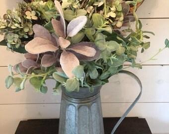 Large watering can Arrangement, flower bouquet, rustic arrangement, farmhouse arrangement, french country arrangement, pastel arrangement
