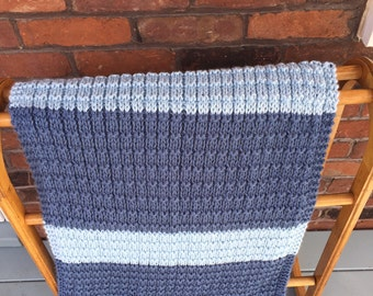 Baby blanket blue baby boy striped blanket