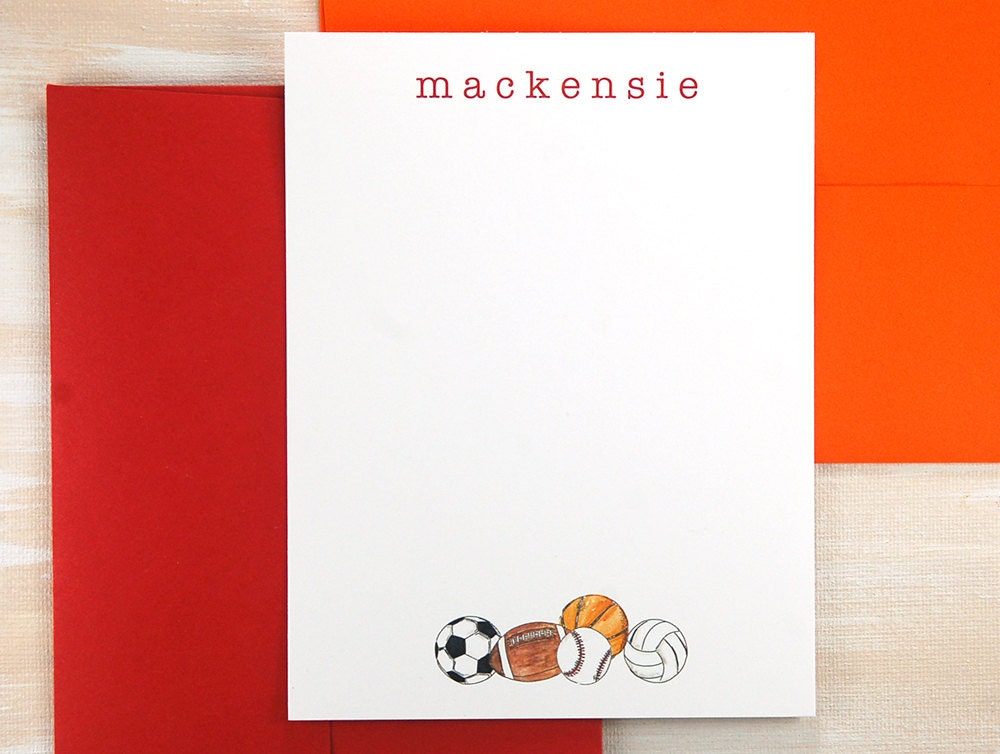 Personalized sports gift kids stationary set basketball gifts personalized sports gift kids stationary set basketball gifts baby shower thank you note negle Gallery
