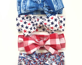 Big Bow headwraps -Fourth of July, patriotic, Stars and Stripes, Red White and Blue