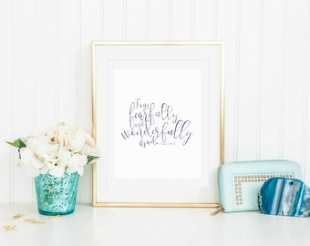 Psalms 139:14 I am fearfully and wonderfully made, Navy Print, 8x10 instant download, Home Decor