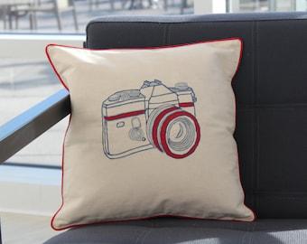 sale 50 off retro camera cushion cover ivory cotton cushion cover decorative