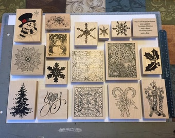 Large Christmas Ink Stamps (Lot of 17)