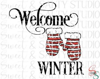 welcome winter mittens digital file