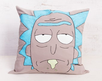 Rick and Morty Inspired - Rick Sanchez handpainted decorative throw pillow, 15.7 in