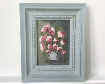 Small still life floral painting, flowers in a vase. Painted grey/blue frame.