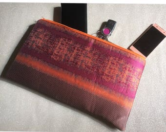 Handmade oversized clutch. Pinks and oranges. Evening wear, wedding, party. Gift, present. Made in Scotland.
