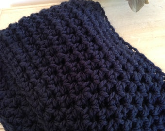Navy blue infinity scarf, crocheted infinity scarf, handmade infinity scarf, winter scarf, navy scarf