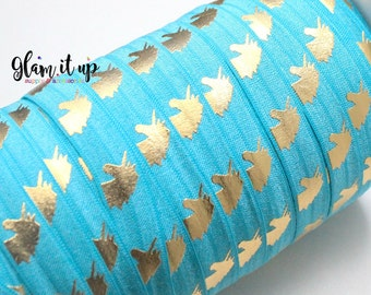 "Unicorn Print FOE - Fold Over Elastic - 5/8"" elastic - Printed Elastic - Elastic Trim- Elastic Ribbon-FOE-headbands-Turquoise Unicorn Foe"
