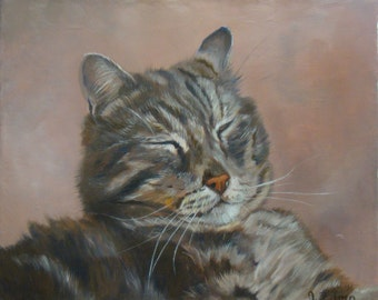 Grey Cat, Original Oil Painting by Anne Zamo