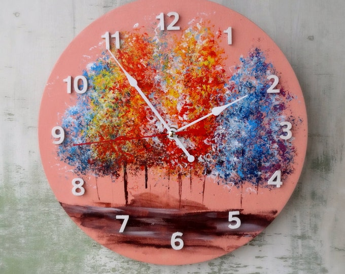 Trees acrylic wooden wall clock - Acrylic painting wall decor - Unique Wall Clocks - Multicolor wall decor - gift idea - Christmas gift
