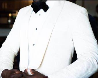 Men's white tuxedo in textured wool