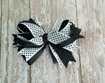 Classic stacked Hair Bow Black and white