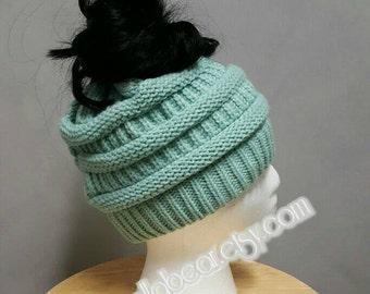 Messy Bun/ ponytail Hat Mint