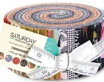 Saturday Morning Jelly Roll by Basic Grey for Moda Blue Pink Purple Green Orange Yellow Gold Red