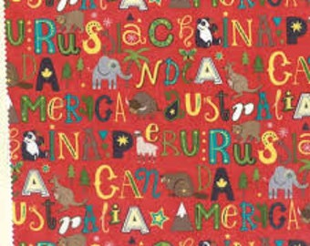 1 Yard Red Letter Hello World by Abi Hall designs for Moda fabrics, Red background with letters and animals 35302 14 elephant kangaroo bear