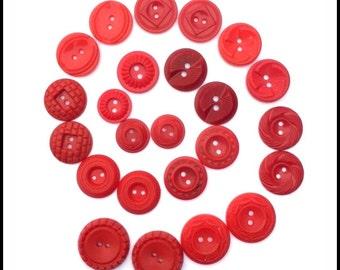 Plastic Red Vintage Buttons - Vintage Red Plastic Button Lot
