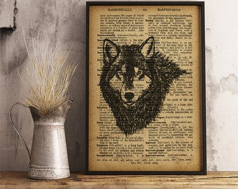 Wolf Print, Forest Animal Poster, Wolf head illustration vintage style dictionary art poster, Wolf wall art, wolf poster, wildlife art,  A16