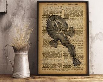 Seadevil poster Anglerfish print Nautical wall art Sea life print Nautical Decor, Seadevil  (R19)