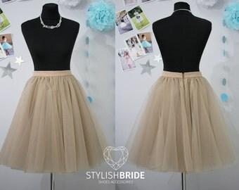 Women Taupe Super Lush Tutu Skirt, Tulle Skirt Bridal, Women Tulle Skirt, Princess Skirt, Wedding Tulle Skirt Silk Lining, Tulle Skirt Adult