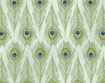 Timeless Treasures - Exotic - Peacock Feathers - Vero-CM5287 - Cream - 100% Cotton Fabric by the Yard - Choose Your Cut