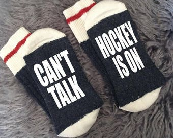 Can't Talk, Hockey is On - The Game is On - To Golf or Not to Golf - Bring Dad a Beer -  Dad Gifts - Dad Socks - Sports Gifts-Novelty Socks