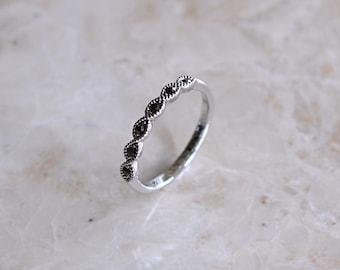 Dainty Silver Gemstone Ring
