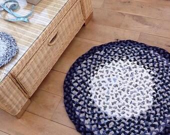 Boho Plaited Rag Rug, handmade using recycled fabrics.