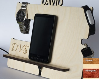 Men Boyfriend Gifts, Wooden phone stand, Phone dock, Docking stating, iPhone charging station, Mens Valentines day gift