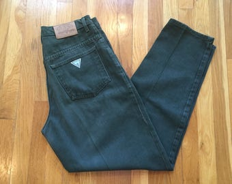 Vintage 90's Guess pants forest green military 33x32 guess triangle jeans