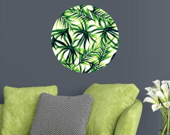 Green Palm Art Wall Dot - Tropical Leaves Wall Decal - Tropical Wall Decal - Palm Leaves Decals - Palm Tree Decal - Custom Vinyl Mural