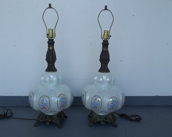 Vintage Large Victorian Brass Table Lamps