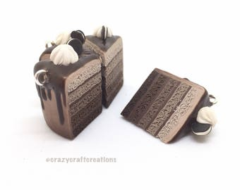 Handmade ombre chocloate cake slice polymer clay charm!