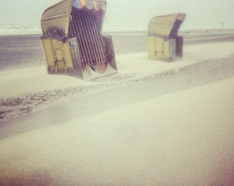 Postcard YellowBeach, small art print in a Polaroid look with yellow beach baskets