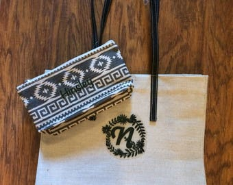 Personalized Tote, Black Tote, Tote and Zipper case