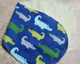 Crocodile flannel burp cloth/rag