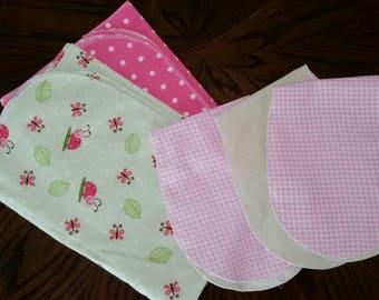 Newborn set 2 Receiving blankets + 3 burp cloths. Lady bugs butterflies
