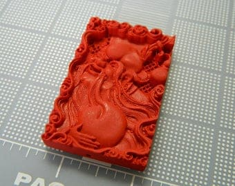 Red Cinnabar Carved Happy Ancestor Pendant - Peace, Happiness and Love Pendant - Chinese Ancestor Cinnabar Amulet