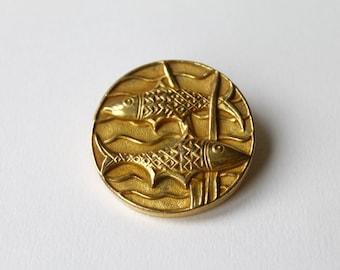 Vintage Arthus Bertrand rare Pisces Fish brooch. French designer Arthus  Pisces brooch. Fish zodiac France brooch.