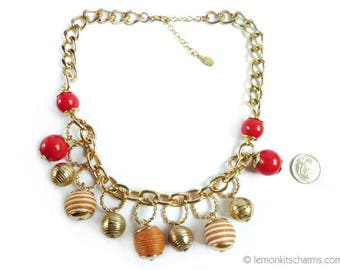 Vintage Robert Rose Baubles Charm Necklace, Jewelry 1980s, Goldtone Chain, Red Beaded, Thick Chunky Kitsch