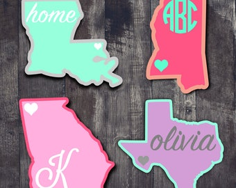 State Decal  State and Name Decal  Monogram State Decal  Double Layer State Decal  Car Window Decal  Tumbler Decal