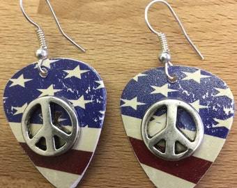 American Flag Guitar Pick Earrings with Peace Signs