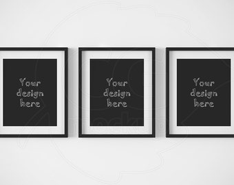 Artprint mock ups, Printable downloads, Set of 3 frame, 8x10 mockup, Black frame mockup, Digital product mockup, Styled stock, Matted frame