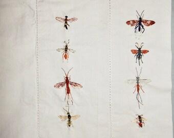 Hand Embroidered pillow cases ~ Ichneumon Flies