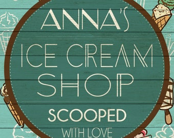 Custom Ice Cream Shop Sign Digital Download