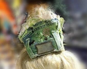 Boho headband - women's hair accessories - one of a kind headband - upcycled headband - messy Mom bun -  # 88