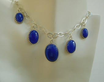 Blue agate and sterling adjustable choker necklace.